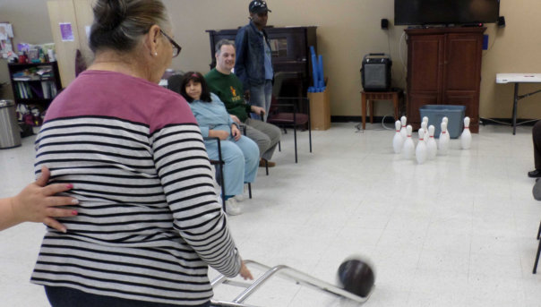 Elderly in bowling activity